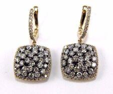 Fantasía Diamante de Color Conjunto Cuadrado Pendientes 14K Oro Amarillo 3.16Ct