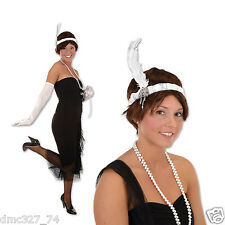 ROARING 20s Gatsby Party Costume Hair ACCESSORY FLAPPER HEADBAND Headpiece WHITE