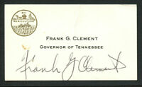 Frank G. Clement d 1969 signed autograph Governor Tennessee Business Card BC507