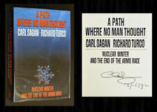 """CARL SAGAN SIGNED & DATED - """"A Path Where No Man Thought"""" 1st/1st (Nuclear War)"""