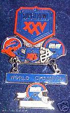 Super Bowl 25 New York Giants vs Buffalo Bills Hanging Champs Dangle Pin