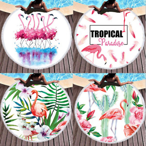 Round printed flamingo microfiber plus fringed beach towel