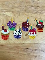 Party Cupcake  - 6 - Iron-On Fabric Appliques.  Small (A)