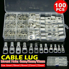 100PCS Copper Tube Terminal Set Battery Welding Cable Lug Ring Crimp Connectors
