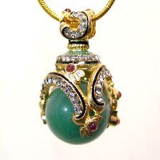 Green Jade Sterling Silver Faberge Egg Pendant Crystals Genuine Garnets Enamel