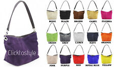 Women Italian Real Suede Leather VP57 Shoulder Handbag Ladies Tote Weekend Bag