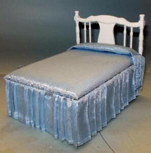 PLEATED BED WHITE #1942  DOLLHOUSE FURNITURE MINIATURES