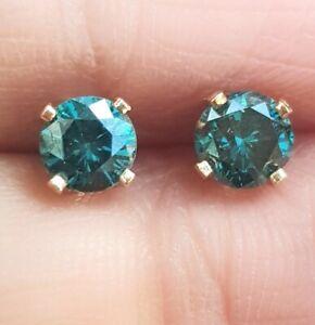0.42ct Natural Blue Diamond 14K Solid Yellow Gold Stud Earrings Push back Bridal