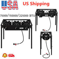 Outdoor Camp 1/2/3 Burner Stove High Pressure Propane Gas Patio Cooker BBQ Grill