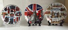 3 X London Ceramic Plates With Display Stand Showpiece British Souvenir Gift,