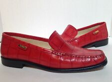 ESCADA women's red croc embossed loafers size 7.5