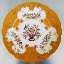 "ANTIQUE ROCKINGHAM BRAMELD CABINET PLATE 8"" HAND PAINTED BOUQUET FLOWERS ENGLAND"