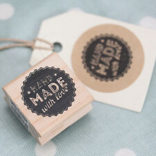 East of India 'Hand Made With Love' Wodden Rubber Stamp - Craft