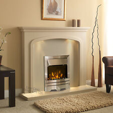 """ELECTRIC CREAM STONE EFFECT SILVER FIRE SURROUND LIGHTS FIREPLACE SUITE 48"""""""