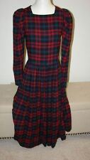 Laura Ashley Vintage Tartan Christmas Plaid Dress USA 10 - RARE EUC