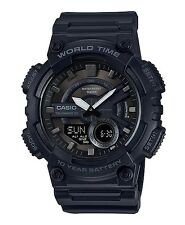Casio AEQ-110W-1B Mens Black Blue 100M World Time Digital / Analog Sports Watch
