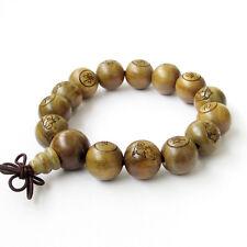 15mm Sandalwood Happy Buddha FO Tibet Buddhist Prayer Beads Mala Bracelet