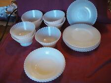 Lot 16 Vtg Milk Glass Depression Era Fenton Style Bowl Plate Rib Scallop Ruffled