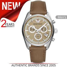 Emporio Armani Sportivo Men's Watch│Chronograph Dial│Taupe Leather Strap│AR6042