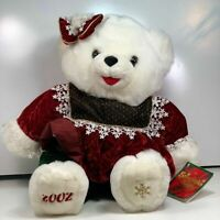 2002 Walmart Christmas White Snowflake Girl Teddy Bear Bow Green Red Clothes