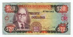 1986 Jamaica 20 Dollars 1-3-86 Banknote P-72b