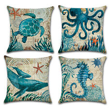 Ocean Sea Octopus Starfish Turtle Print Pillow Covers Pillow Case Tool