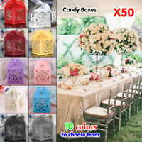 50PCS PARTY WEDDING FAVORS BOXES CANDY GIFT BAG LASER CUT HOLLOW LACE+RIBBON