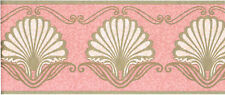 Salmon Pink Sea Shell Gold Leaf Scroll Bathroom Powder Room Wall paper Border