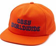 OBEY Cajón Hombre 100% Algodón Ajustable Gorra Snapback Naranja Nuevo