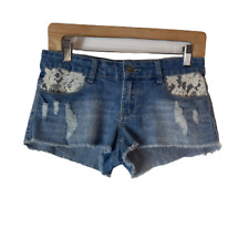Iris Jeans Lace Trim Jean Cutoff Shorts Size M