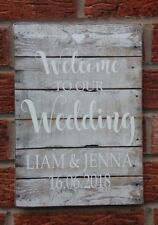 Wedding Signs Welcome To Our Wedding Personalised Shabby Vintage Rustic Chic