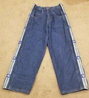 vtg One B Soul denim blue jeans skater stripper side snaps off rip 30x31