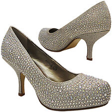 Mujer Tacón Bajo de Novia Boda Baile Brillante Zapatos de Salón Talla
