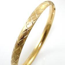 "14K Yellow Gold Diamond Cut Hinged Bangle Bracelet 7.75"" QZ"