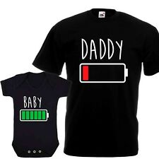 Full Low Battery Gift Set Daddy - Funny First Fathers Day Baby Vest T Shirt