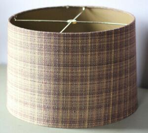 """14"""" Vintage Tweed Dark Brown Lamp Shade Spider Fitter MCM Midcentry Modern"""