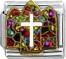 CHURCH STAINED GLASS WINDOW RELIGIOUS Enamel Italian Charm 9mm - 1x RE045 Link