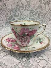 Rosina Bone China Teacup & Saucer Dainty Scalloped Gold Edge Pink Carnations