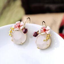 Boucles d'Oreilles Doré Email Blanc Rose Fleur Rond Coccinel Opaque Class Fin L1