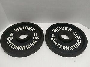 Pair WEIDER International Weight 5 Kg 11lbs Olympic Plates Bodybuilding Weights