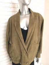 Vintage 70's Women's Army Green Suede Double Breasted Jacket Blazer