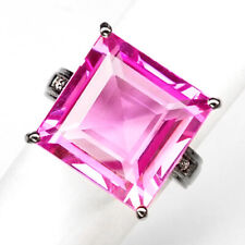 TOPAZ PINK OCTAGON 24.40 CT.SAPPHIRE 925 STERLING SILVER BLACK RING SZ 6.25 GIFT
