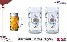 Weihenstephaner Dimpled Beer Glass 2 x 1/2 Liter Stein Masskrug MAN CAVE MUNICH
