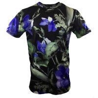 FOREVER 21 Men's T-shirt - Black -Blue Flowers - Fashion -21 Men- SUMMER SALE