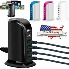 Multi Port Charger 6 USB Desktop Fast Charging Station Travel Hub iPhone Android