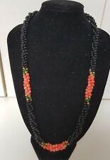 Vintage 50cm Genuine Onyx Angel Skin Coral Green Jade Beaded Necklace 20 grams