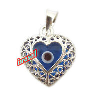 925 Sterling Silver Protection Pendant Against Evil Eye - Brings Luck - Heart