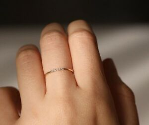 14K Solid Gold 1.2mm Band with 1mm Diamonds Wedding Engagement Ring