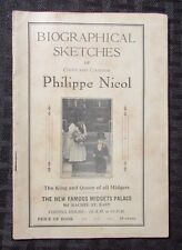 1925 BIOGRAPHICAL SKETCHES of Philippe Nicol King & Queen All Midgets Pamphlet