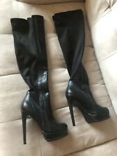GUESS by Marciano Black Over The Knee Leather Boots Platform High Heels Size 7.5